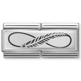 Maillon Nomination classic double Plaque plume infini