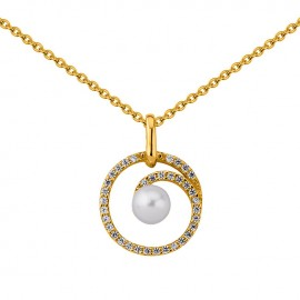 Collier en Plaqué Or, oxydes de zirconium et perle blanche