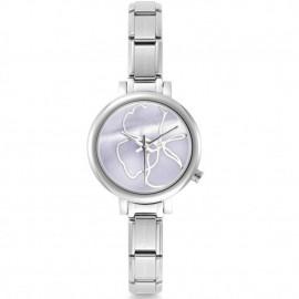 Montre femme Nomination composable et bracelet cuir rose