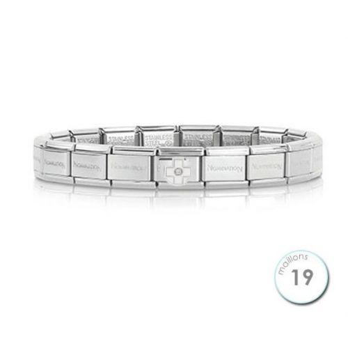 Bracelet Nomination base Acier et croix blanche Argent