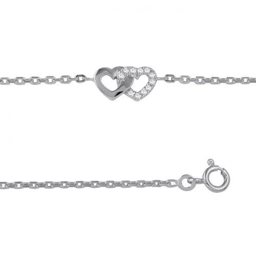 Bracelet femme Argent et oxydes de zirconium motif coeurs