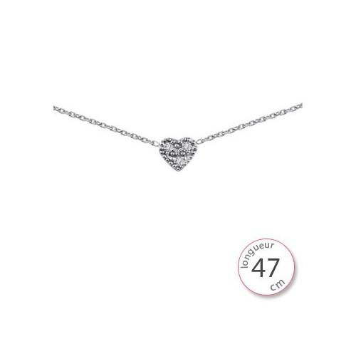 Collier coeur argent - 002066