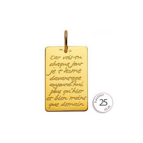 Plaque gravée type médaille d'amour - 990012