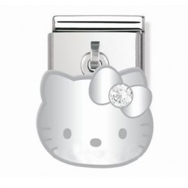 Maillon Nomination Hello Kitty charms Argent oxyde blanc