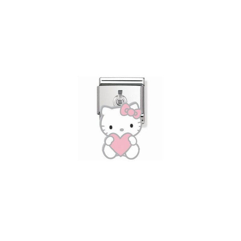 Maillon Nomination Hello Kitty charms coeur rose