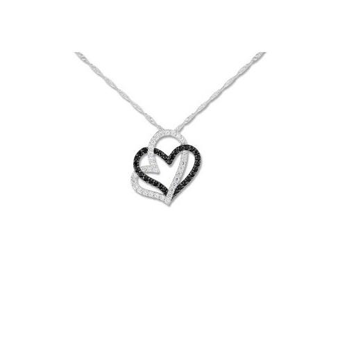 Collier coeur en Or blanc 9 carats et oxydes de zirconium
