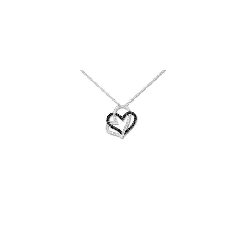 Collier coeur en Or blanc 9 carats et céramique
