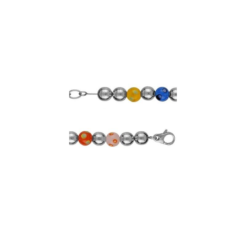 Bracelet Acier perles de murano