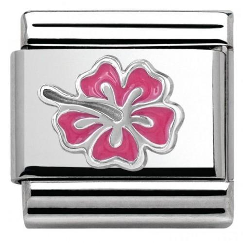 Maillon Nomination classic Argent fleur rose