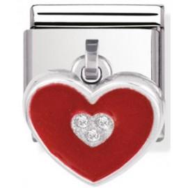 Maillon Nomination classic charms coeur rouge avec oxydes