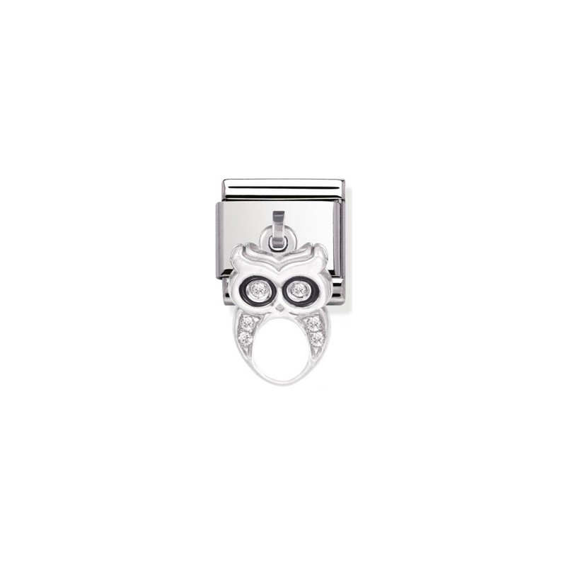 Maillon Nomination classic charms hibou et oxydes blancs