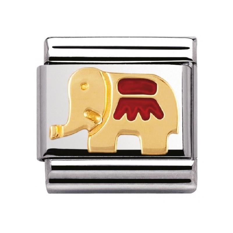 Maillon Nomination classic éléphant rouge