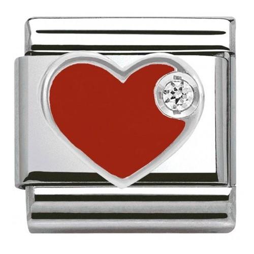 Maillon Nomination classic coeur rouge Argent