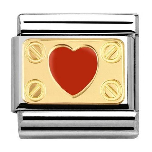 Maillon Nomination classic coeur rouge élégance