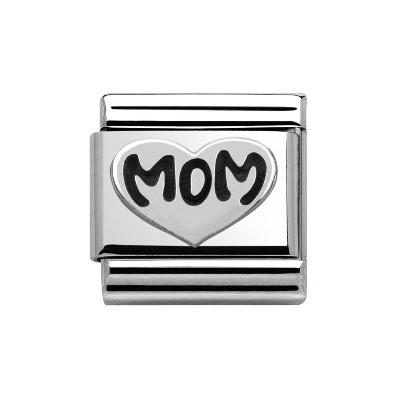 Maillon Nomination classic Argent coeur mom