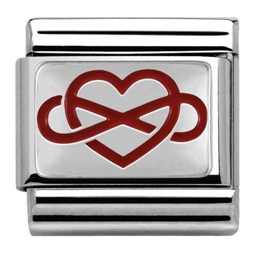 Maillon Nomination classic coeur et infini rouge