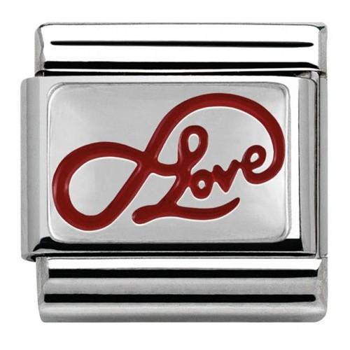 Maillon Nomination classic coeur Argent Love et infini rouge