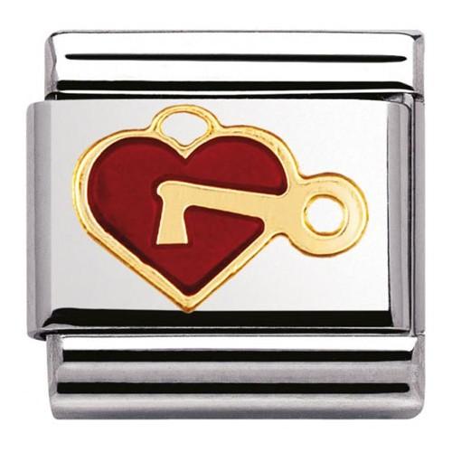 Maillon Nomination classic coeur rouge avec clé