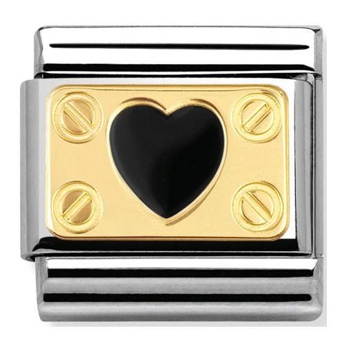 Maillon Nomination classic coeur noir élégance