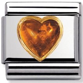 Maillon Nomination classic coeur bombé en ambre