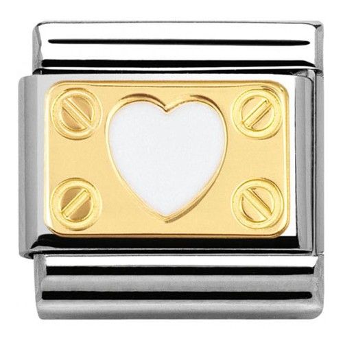 Maillon Nomination classic coeur blanc élégance