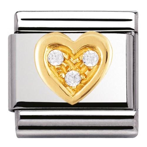 Maillon Nomination classic coeur et pierres