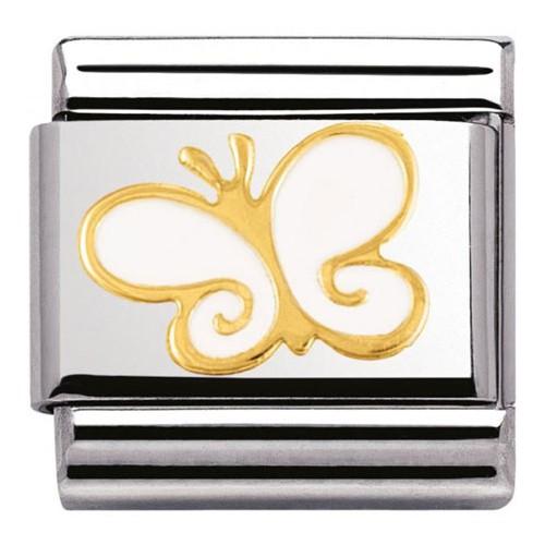 Maillon Nomination classic papillon blanc