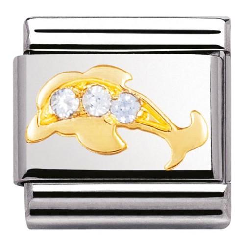 Maillon Nomination classic dauphin et pierres bleus