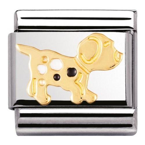 Maillon Nomination classic chien tacheté en Or