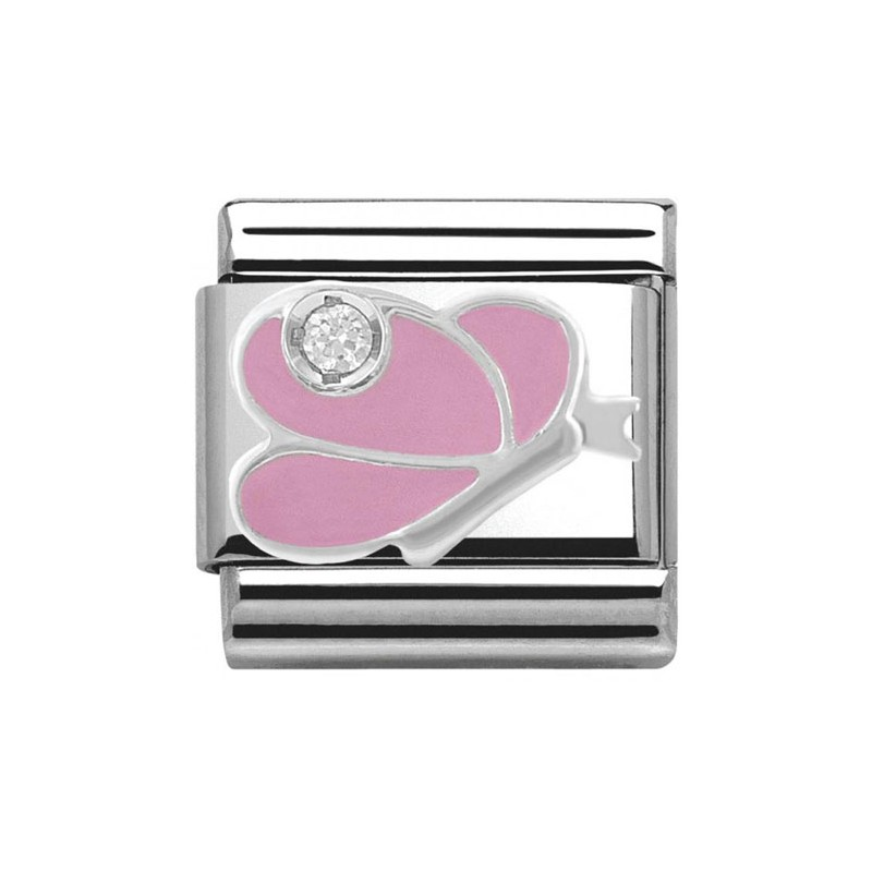 Maillon Nomination classic papillon rose en Argent