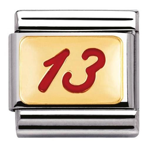 Maillon Nomination classic nombre 13 rouge