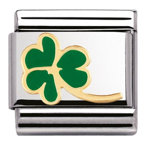 Maillon Nomination classic trèfle vert et or