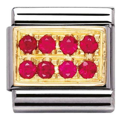 Maillon Nomination classic pavé de pierres rouges