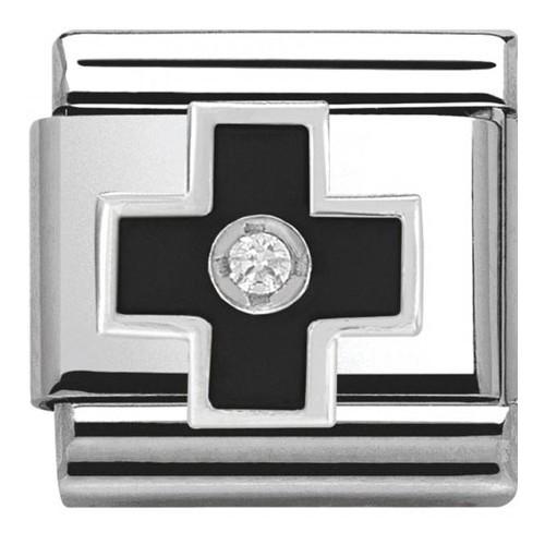 Maillon Nomination classic croix noire en Argent