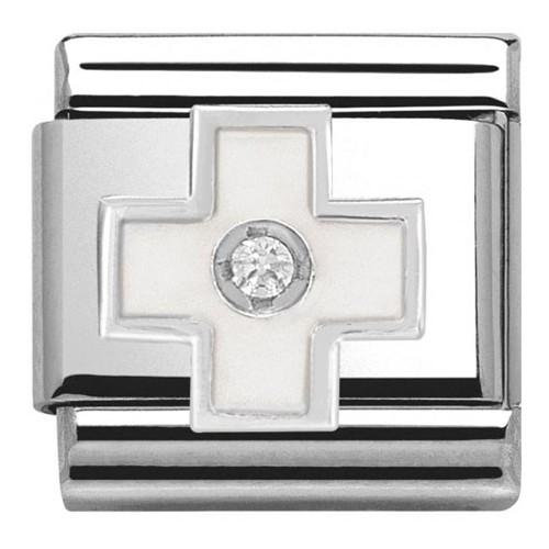 Maillon Nomination croix blanche en Argent