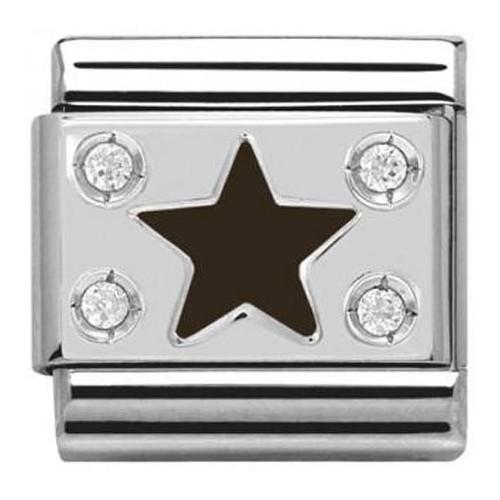 Maillon Nomination classic étoile noire en Argent