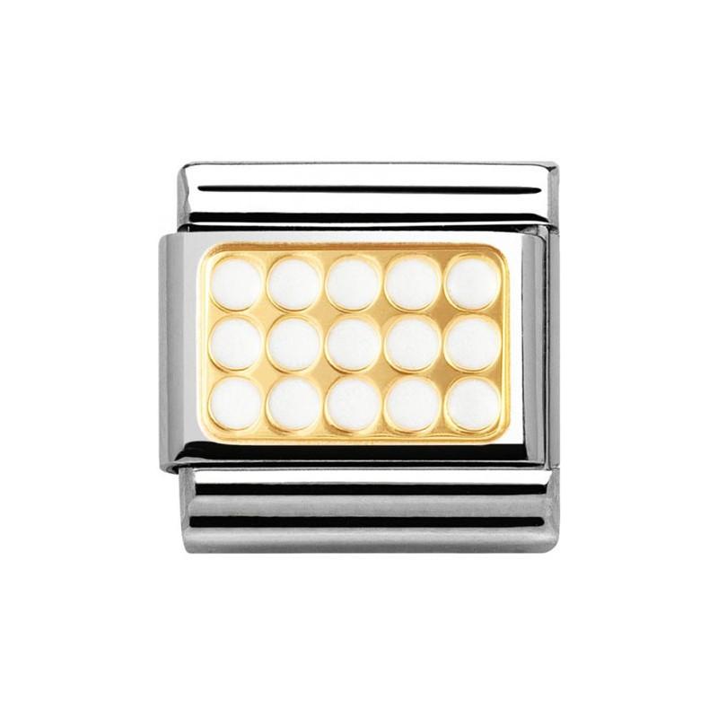 Maillon Nomination classic plaque trouée blanche