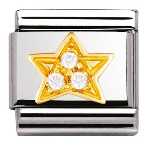 Maillon Nomination classic étoile et pierres blanches