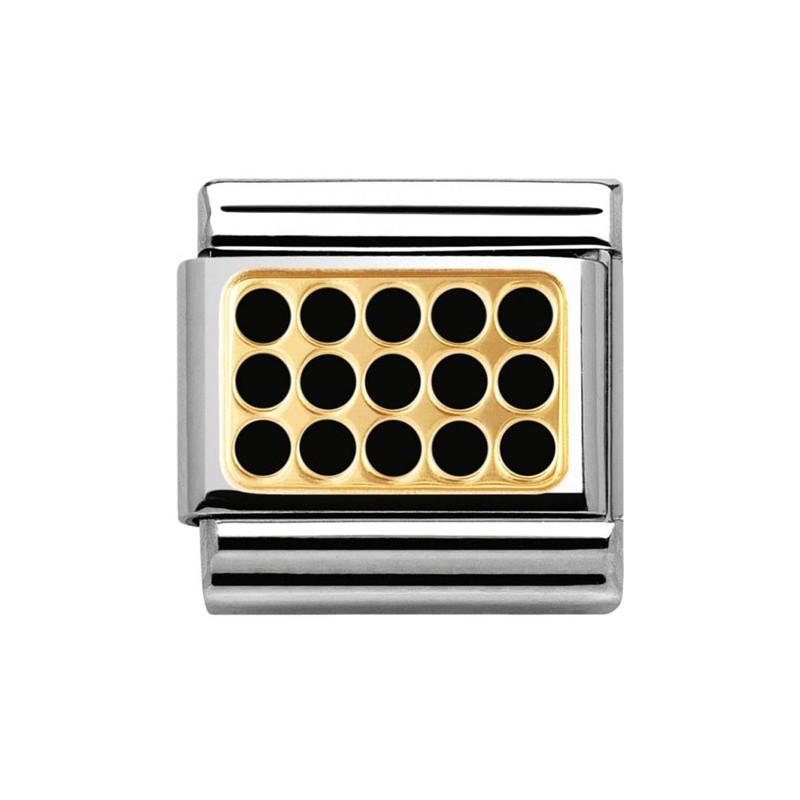 Maillon Nomination classic plaque trouée noire