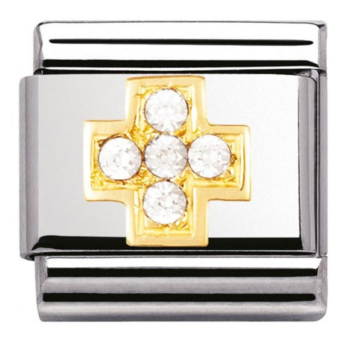 Maillon Nomination classic croix en Or et pierres blanches