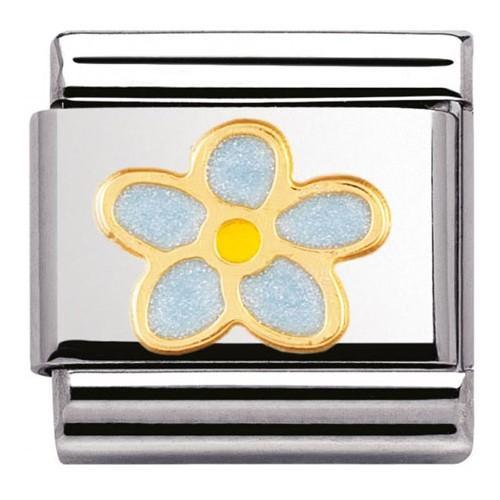 Maillon Nomination classic fleur myosotis