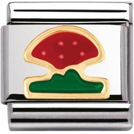 Maillon Nomination classic champignon en Or et email