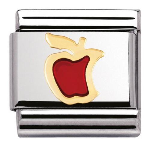 Maillon Nomination classic pomme rouge en Or et email