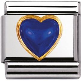Maillon Nomination classic coeur bombé en Lapis Lazuli