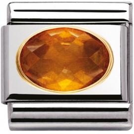 Maillon Nomination classic pierre orange facetée