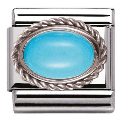 Maillon Nomination classic turquoise Argent