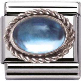 Maillon Nomination classic topaze bleue Argent