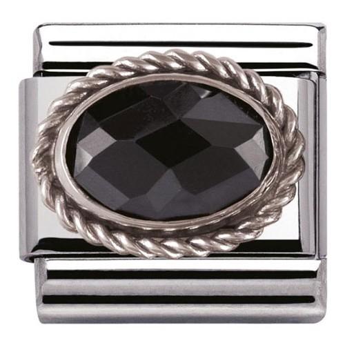 Maillon Nomination classic pierre facetée noire