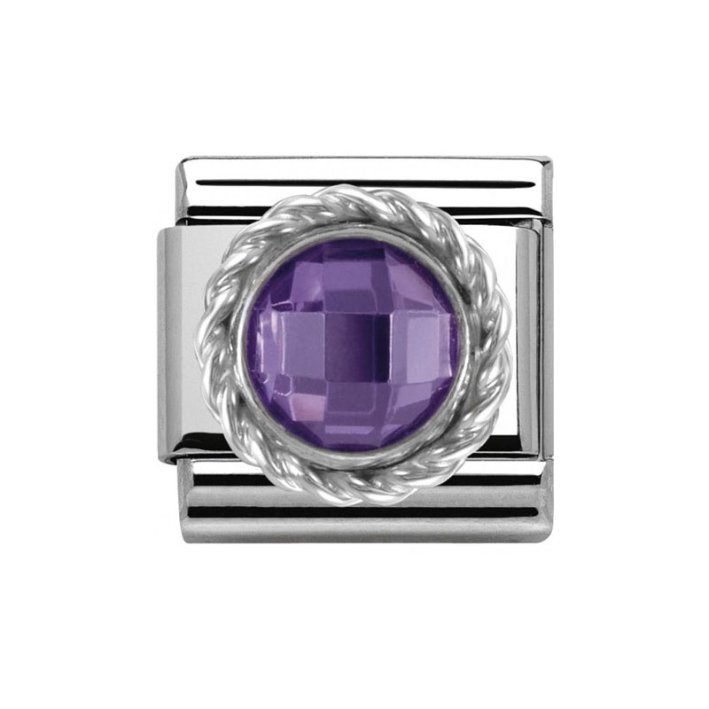 Maillon Nomination classic pierre ronde violette