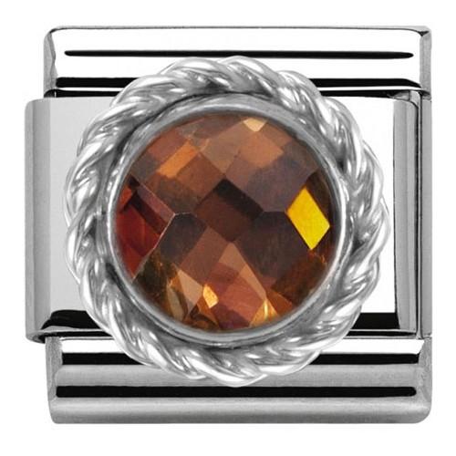 Maillon Nomination classic pierre ronde marron
